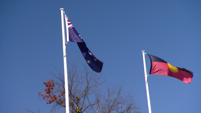 Low angled shot of the Flag of Australia and the Australian Aboriginal Flag flying on poles side by side on a clear blue sky sunny day bare tree...