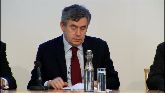 London Royal Society INT General views Low Carbon Economy summit press conference with Prime Minister Gordon Brown MP Lord Mandelson and Ed Miliband...