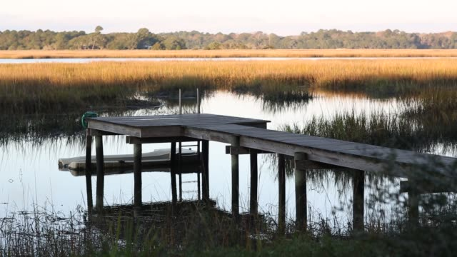 Low country marsh and dock at sunrise