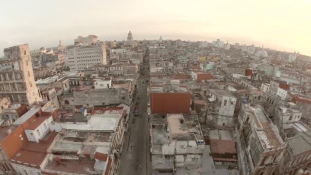 Low flying over Havana Cuba rooftops