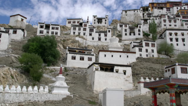 Low-angle panoramic view of Thiksay Monastery, Ladakh, India