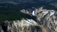 Lower Falls  - Aerial View - Wyoming,  Park County,  helicopter filming,  aerial video,  cineflex,  establishing shot,  United States