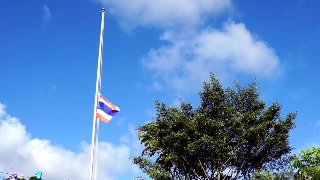 Lowered Thai flag in honour of King Bhumibol Adulyadej