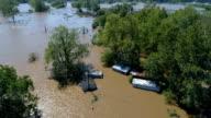 Verlagen naar beneden over vloed Columubus, Texas kleine stad Gulf Coast schade zone van Orkaan Harvey Path of Destruction.