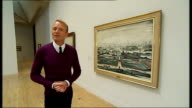 LS Lowry exhibition to open at Tate Britain London Tate Britain INT Close shots LS Lowry paintings People looking at paintings on gallery wall Close...