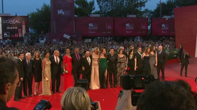Luciana Damon Matt Damon Gwyneth Paltrow Jennifer Ehle Laurence Fishburne Steven Soderbergh and cast at the Contagion Premiere Venice Film Festival...