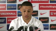 Luke Shaw expected to make debut for England Hertfordshire Watford INT Alex OxladeChamberlain press conferecne SOT re Luke Shaw