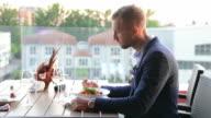 Lunch in outdoor restaurant