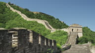 Lush vegetation surrounds the Great Wall of China.