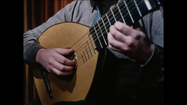 ZO Lute player strums a simple melody / UK