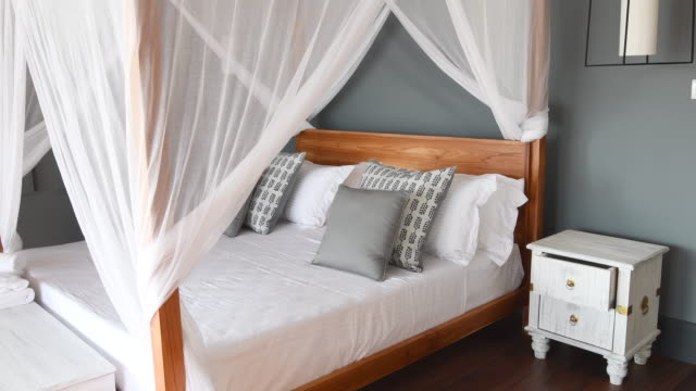 Luxury hotel room with double bed and mosquito netting