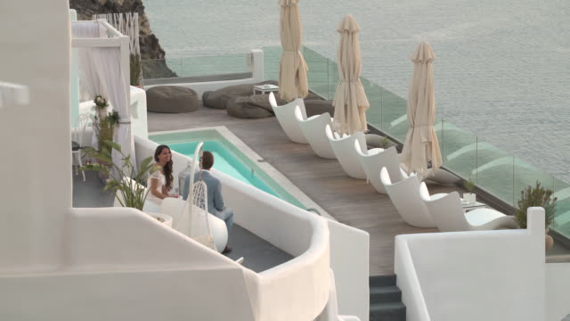 luxury hotel terrace couple greece
