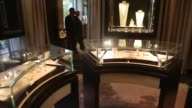 Luxury jewelry on display at Americana Manhasset in Manhasset New York on October 21 Close ups of diamond necklaces on dispplay Wide shot of luxury...