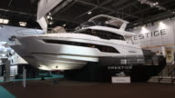 A luxury motor boat at the annual London Boat Show at ExCel on January 6 2017 in London England The show runs from the 6th to 15th January and is now...