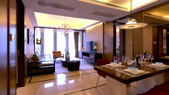 luxury sample living room interior and decorations, Real time.