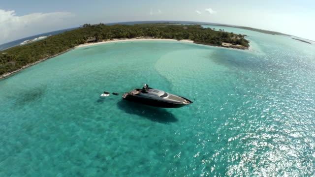 Luxury Yacht anchored at Exumas Bahamas from drone