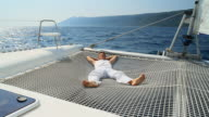HD: Lying On The Catamaran Trampoline