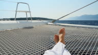 HD: Lying On The Catamarans Trampoline