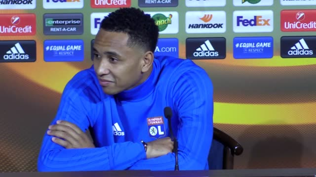 Lyon defender Kenny Tete and coach Bruno Genesio preview the team's Europa League match against Everton