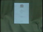 Government motion ENGLAND London Westminster GV Palace of Westminster MS Cars out of gates of House of Commons car park CMS Copy of Maastricht Treaty...