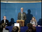 Maastricht summit aftermath London MS Michael Heseltine RL as past and into Conservative Central Office MS Two men RL and ditto MS Douglas Hurd...