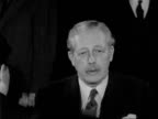 PM Macmillan returns from talks with President Eisenhower and interview ENGLAND London Airport EXT Harold Macmillan interview on the Declaration of...