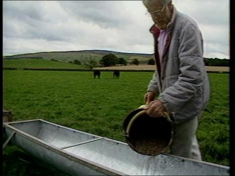Brussels Talks ITN LIB Cumbria MS Farmer emptying cattle feed pellets into trough in field