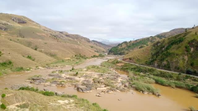 Madagascar Highlands Dirty River Drone View