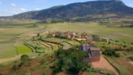 Madagascar Highlands Village and Rice Fields Drone View