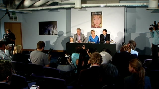 Kate and Gerry McCann book launch press conference QA session with Gerry and Kate McCann SOT / CUTAWAYs of 'Madeleine' book / Kate and Gerry...