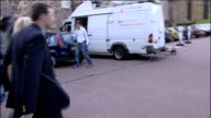 parents press conference on no longer being suspects EXT Kate and Gerry McCann leaving press conference and along to car followed by press McCanns'...