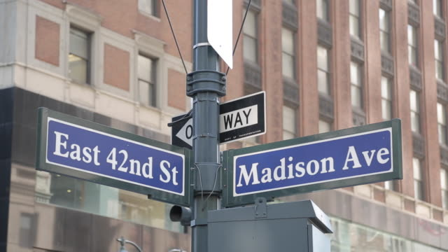 Madison Avenue & 42nd Street Signs, Manhattan, New York City, New York, USA, North America