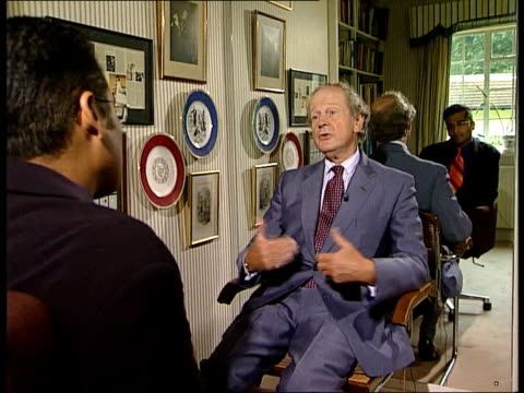 Leadership battle ENGLAND Ext David Berglas interview SOT If enough people want you I was persuaded to stay on Michael Bailey performing magic trick...