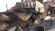 CU POV Magnet lifting steel scrap at scrapyard / Bous, Saarland, Germany