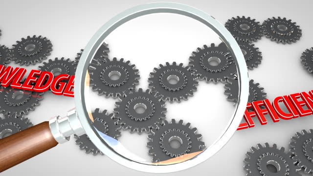 Magnified words moving with gears