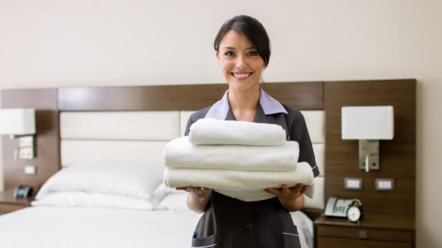 Maid working at a hotel