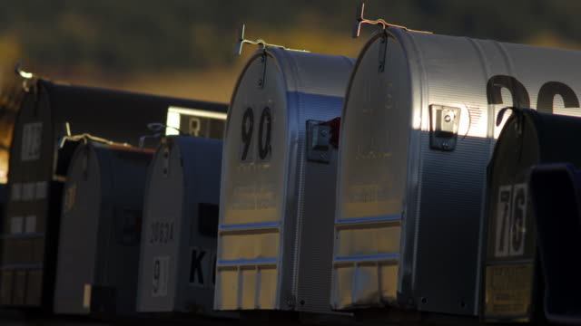 Mailboxes at sunset.