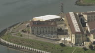 AERIAL Main administration block, with the state prison behind and the still waters of the Bay / San Quentin, California, United States