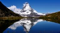 Main peak of the Matterhorn reflection in the lake