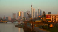 Main River, Hafenpark at Weseler Werft and Skyline of Frankfurt am Main, Hesse, Germany