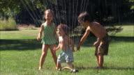 MS, USA, Maine, Yarmouth, Three children (2-3, 4-5, 6-7) playing in backyard sprinkler