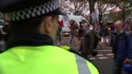 Student protests Police on Victoria Embankment / Protesters pass / Protesters march followed by police