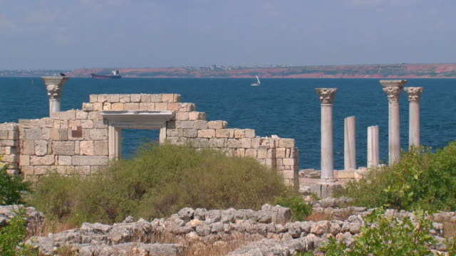 majestic ruins of an ancient temple on the seashore