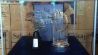WDAF Major League Baseball World Series Trophy on Display at the Kansas City Royals' Kauffman Stadium on April 3 2016