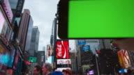 Machen Sie Ihre eigenen selfie Time Square weibliche eine Person