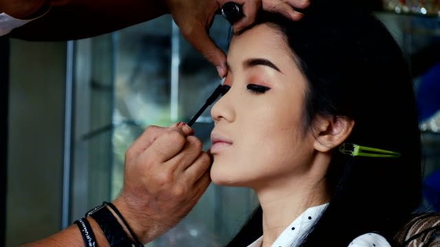 Make-up and eyeliner applied of Asian young woman