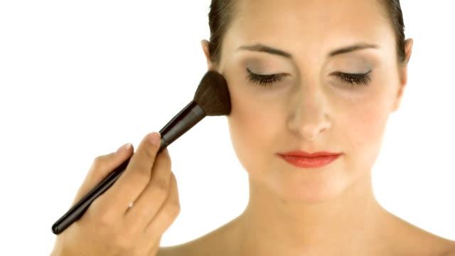 HD: Makeup Artist Applying Face Powder