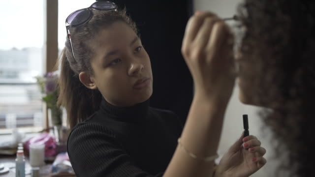 A make-up artist at work on a model.