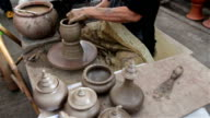 Making clay pot on a potter's wheel