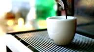 Making espresso coffee.